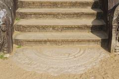 Ancient stone staircase decoration in Anuradhapura, Sri Lanka. - stock photo
