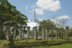 Ruwanwelisaya stupa and Sacred city ruins in Anuradhapura, Sri Lanka. Stock Photos