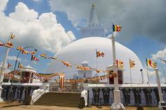 Exterior of the Ruwanwelisaya stupa in Anuradhapura, Sri Lanka. Stock Photos