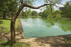 Ancient pond in the Sacred city of Anuradhapura in Sri Lanka. - stock photo