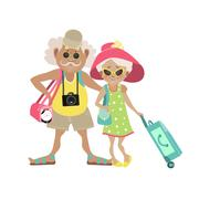 Illustration of an Elderly Couple Traveling Together with Luggage in Tow - stock illustration