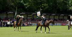 Horsemen of Dutch guilds with standards and flags - stock footage
