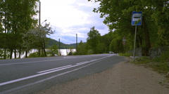Cars go on the highway in rural areas Stock Footage
