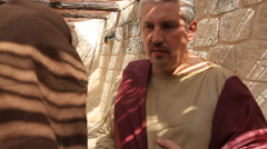 Stock Video Footage of Roman Ruler and Jerusalem Leader Conspire in Biblical Reenactment