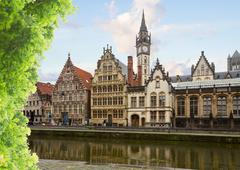 historical Graslei harbor  , Ghent - stock photo
