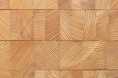 Background with glued larch wooden blocks. - stock photo