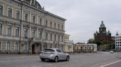Traffic in front of Uspenski Cathedral, Helsinki Stock Footage