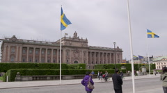 Parliament building Stockholm Sweden Stock Footage