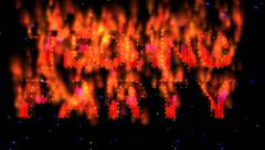 Techno party text flames Stock Footage