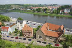 Buildings along the banks of the Elbe river, Meissen, Germany. Stock Photos