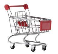 supermarket trolley isolated on white background. Shopping cart. - stock photo