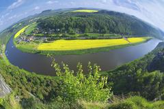 Panoramic view to Saxon Switzerland from Bastei, Rathen, Germany. - stock photo