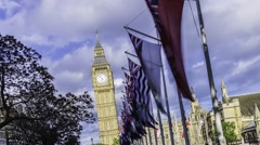 Timelapse of the Big Ben acting like the tower of Pisa - stock footage