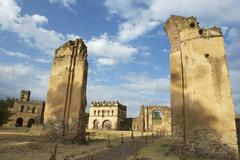 Stock Photo of Medieval fortress in Gondar, Ethiopia, UNESCO World Heritage site.