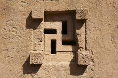 Window of the rock-hewn church, Lalibela, Ethiopia. - stock photo