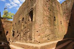 Unique monolithic rock-hewn church, Lalibela, Ethiopia. - stock photo
