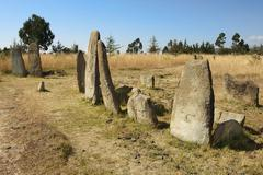 Mysterious megalithic Tiya stone pillars, UNESCO World Heritage Site, Ethiopi - stock photo