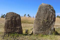 Mysterious megalithic Tiya stone pillars, UNESCO World Heritage Site, Ethiopi - stock photo