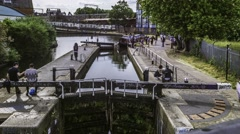 Time lapse of a boat in lock in Camden Town, London Stock Footage