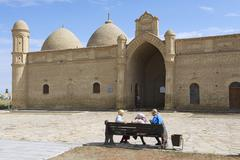 Pilgrims visit Arystan Bab Mausoleum, Otrartobe, South Kazakhstan. Stock Photos