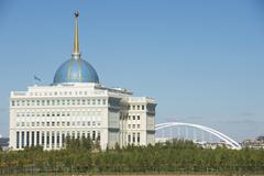 Exterior of the President palace in Astana, Kazakhstan. - stock photo