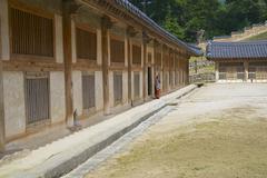 Exterior of the Tripitaka Koreana storage, Haeinsa temple, Korea. Stock Photos