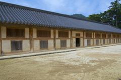 Exterior of the Tripitaka Koreana storage building, Haeinsa temple, Korea. - stock photo