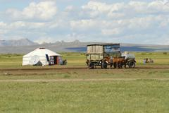 Mongolians have a picnic circa Harhorin, Mongolia. Stock Photos