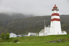 Exterior of the old lighthouse in Alnes, Norway. Stock Photos
