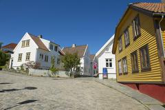 Exterior of the traditional wooden houses in Stavanger, Norway. - stock photo