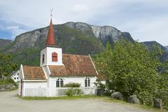 Undredal Stave church exterior in Undredal, Norway. - stock photo