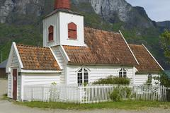 Undredal Stave church exterior in Undredal, Norway. Stock Photos