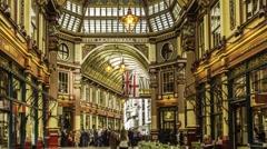 Timelapse of Leadenhall Market in London Stock Footage