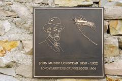 Memorial to John Munro Longyear in Longyearbyen, Norway. Stock Photos