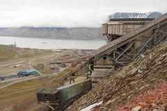 View to the town of Longyearbyen, Norway. - stock photo