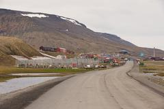 View to the town of Longyearbyen, Norway. Stock Photos