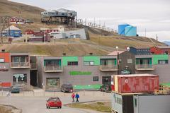 View to the street of Longyearbyen, Norway. - stock photo