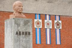 Exterior of the bust of Lenin  Pyramiden, Norway. - stock photo