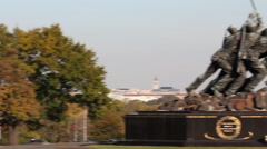 Iwo Jima Memorial with Capitol and Washington Monument Pan Stock Footage