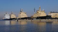 Icebreaker fleet in Helsinki, wide - stock footage