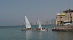 Sail boats at the old port of Jaffa in Tel Aviv Jaffa, Israel. Stock Footage