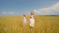 Children cry and laugh at the wheat field. - stock footage