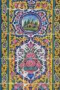 Exterior detail of the Nasir al-Mulk mosque in Shiraz, Iran. Stock Photos