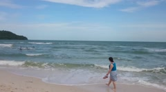 Long beach at phu quoc Stock Footage