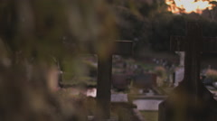 Graves at Sunnset - stock footage