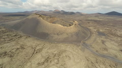 Aerial video footage of the Volcanic Landscape on the Island of Lanzarote Stock Footage