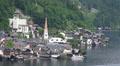 Hallstatt churches center view aerial position HD Footage