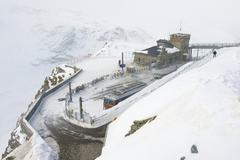 Snow storm at the Gornergratbahn upper station, Zermatt, Switzerland. Kuvituskuvat