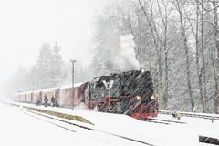 Steam locomotive ready to go to the Brocken in winter, Germany Stock Photos
