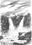 Vector mountain landscape with waterfall by hatching in eps, nature scetch, w - stock illustration
